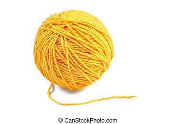 Yellow yarn ball - Yellow wool yarn ball isolated on white...