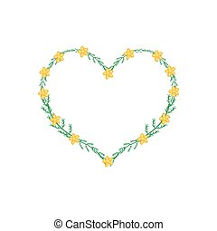 Yellow Yarrow Flowers in A Heart Shape Frame - Love Concept...