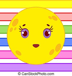 Yellow yellow moon with a smile on the background of colored stripes