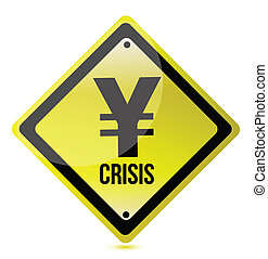 yellow yen crisis sign illustration