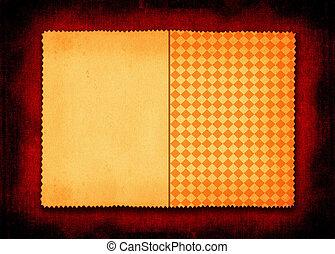 yellowed, carta, con, uno, quadrato, parte
