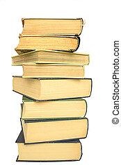 yellowed, livres, pile