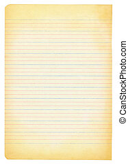 yellowed notebook paper isolated on white background