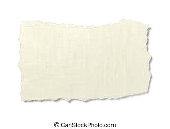 close up of yellowed textured ripped piece of paper on white background with clipping path