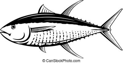 Yellowfin Tuna Black and White Fish