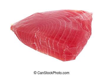 Yellowfin tuna steak - Side view of a fresh yellowfin tuna...