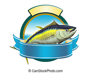 Yellow-fin tuna label, copy space available to insert your text. Digital illustration.