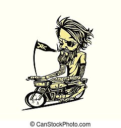 Yellowish bike rider vector illustration.