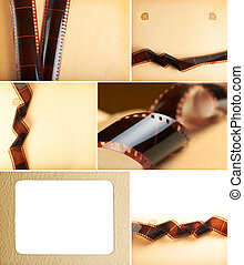 yellowish photo album background with filmstrip collage