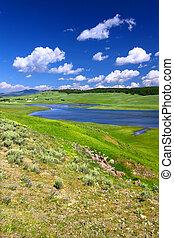 yellowstone ποταμός , μέσα , hayden, κοιλάδα