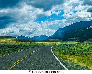 yellowstone, camino de la montaña