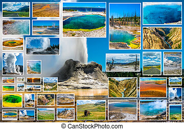 Yellowstone Castle Geyser Collage
