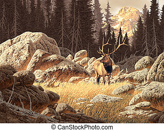 Yellowstone Elk - Image from an original painting by Larry...