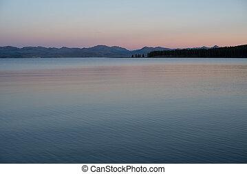 Yellowstone Lake after sunset