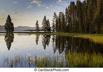 Yellowstone Lake in early morning with beautiful reflections