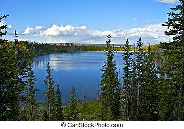 Yellowstone Lake in Yellowstone National Park, Wyoming, USA...