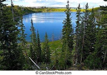 Yellowstone Lake Overview. Yellowstone, Wyoming, USA.
