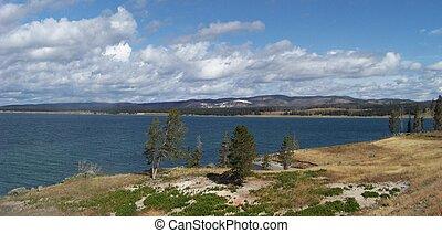 Yellowstone Lake panorama near Fishing Bridge in Yellowstone...
