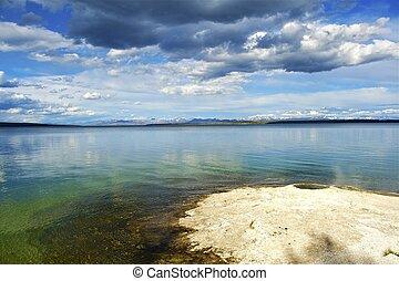Yellowstone Lake with Geyser. West Thumb Geysers Basin, ...