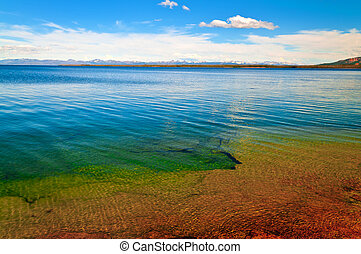 Yellowstone Lake with Grant Tetons Mountains in the Back