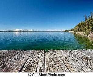 Yellowstone Lake with mountains landscape, Wyoming, USA