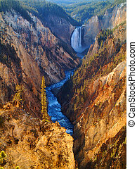 Yellowstone lower falls and canyon with river details