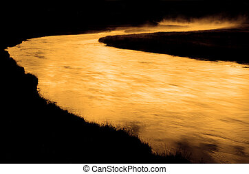 Yellowstone National Park with Steam Rising from the Madison River in Early Morning