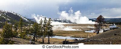 Yellowstone National Park Panoramic Landscape
