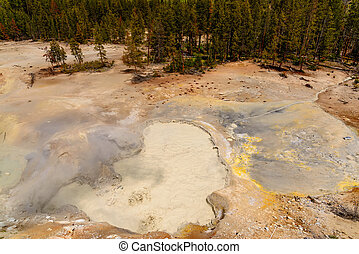 Yellowstone River, Yellowstone National Park, Wyoming, USA -...