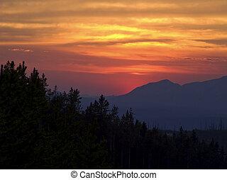 yellowstone, tramonto