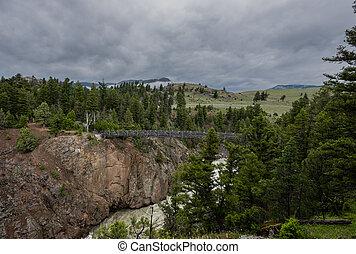 Yellowstone Wilderness and Suspension Bridge over Hellroaring Creek