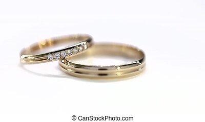 Yelow Golden Wedding Rings Rotation Loop White Background.