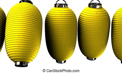 Yelow paper lantern on white background. Loop able 3D render...