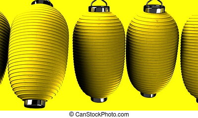 Yelow paper lantern on yellow background. Loop able 3D...