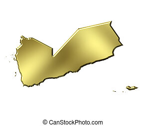 Yemen 3d Golden Map