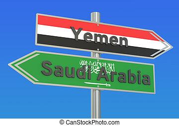 Yemen and Saudi Arabia war conflict concept, 3D rendering
