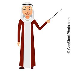 Yemen arab business man with a pointer flat cartoon vector illustration.