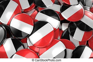 Yemen Badges Background - Pile of Yemeni Flag Buttons.