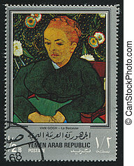 YEMEN - CIRCA 1972: stamp printed by Yemen, shows La Berceuse by Van Gogh, circa 1972
