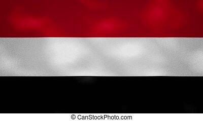 Yemen dense flag fabric wavers, perfect loop for background