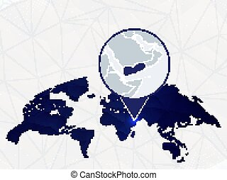Yemen detailed map highlighted on blue rounded World Map.