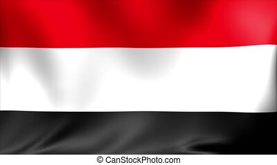 Yemen Flag. Background Seamless Looping Animation. 4K High Definition Video.