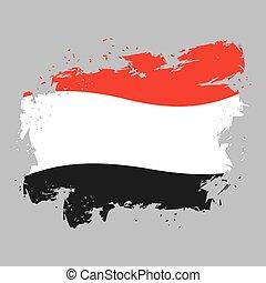 Yemen flag grunge style on gray background. Brush strokes and ink splatter. National symbol of Yemeni government