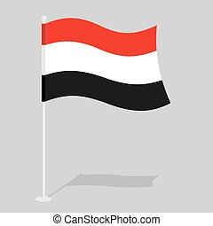 Yemen Flag. Official national mark of Republic of Yemen. Traditional Yemeni flag paced. state in Southwest Asia