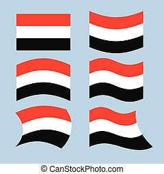 Yemen flag. Set of flags of Republic of Yemen in various forms. Developing Yemeni state flag in South-West Asia