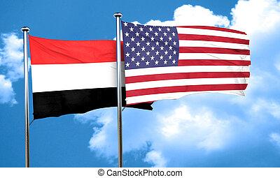 Yemen flag with American flag, 3D rendering