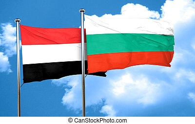 Yemen flag with Bulgaria flag, 3D rendering