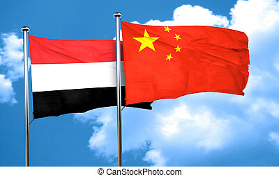 Yemen flag with China flag, 3D rendering