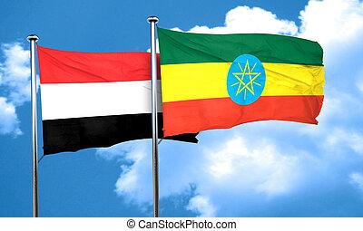 Yemen flag with Ethiopia flag, 3D rendering