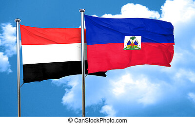 Yemen flag with Haiti flag, 3D rendering